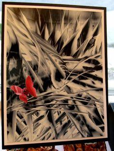 2manycookbooks, splitcoaststampers:  Butterfly on Black--encaustic wax; paper punch