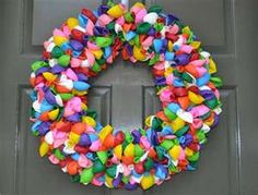 I made three balloon wreaths for Brea's second birthday party. I am currently making Halloween wreaths...