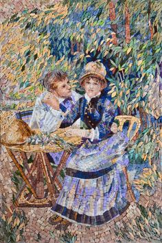 Lovers in the Garden Marble Mosaic Mural - Renoir Reproduction