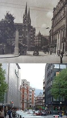 Urkijo St. now and then. Bilbao.