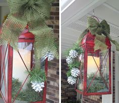 Re-purpose and Handmade Holiday on Life on Walnut Street - Front Porch Decor...Christmas Lanterns