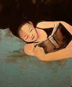 "Saatchi Art Artist Shana Molt; Painting, ""Original Art 20 x 24 Lost in a Book, figurative, female, portrait, impressionist, nude, erotic"" #art"