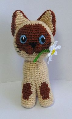 Amigurumi Cat with Flower - Free Crochet Pattern