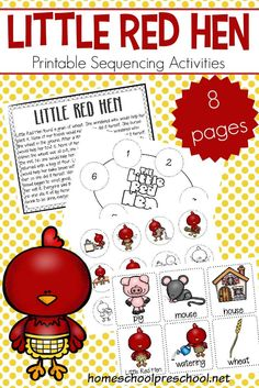 Kids can practice storytelling with these free printable Little Red Hen sequencing cards. They can be used in three hands-on activities.  #preschool #preschoolprintables #storysequencing #sequencingcards #homeschoolprek #littleredhen