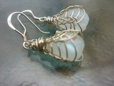 Moonstone and Sterling Silver Viking Knit earrings by veralynnbush, $69.95