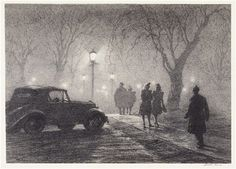 Martin Lewis (American, 1881-1962) Misty Night, Danbury, c. 1947  Lithograph