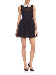 RED Valentino - Macrame & Tulle Contrast Collar Dress