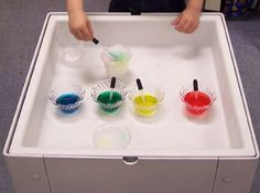 Sensory Table- Crushed Ice and food coloring water or water color.  Children explore how color changes in crushed ice.