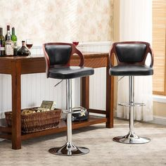 Homall Bar Stools Walnut Bentwood Adjustable Height Leather Modern Barstools with Back Vinyl Seat Extremely Comfy Bar Stool 1 Piece (Black) Brown Bar Stools, Cool Bar Stools, Leather Bar Stools, Modern Bar Stools, Kitchen Office, Office Bar, Kitchen Dining, Kitchen Island, Adjustable Bar Stools