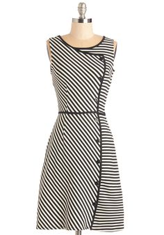 Chord-ially Yours Dress in Stripes. Captivate the audience with your well-rehearsed performance on the grand piano, clad just as impressively in this black-and-white striped frock.  #modcloth