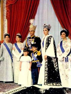 Coronation of the Shah of Iran in 1967, official photograph. Princess Ashraf, Princess Shahnaz, the Shah, Princess Farahnaz and Crown Prince Reza, Queen Farah and Princess Shams.