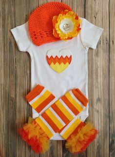 Candy Corn Cutie/ Orange white and Yellow/ Candy Corn 3 pc Onesie and legwarmer set with Hat/ Headband/ First Halloween/ First Birthday