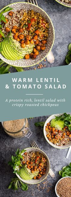 A protein rich vegan salad, with lentils, roasted tomatoes and crispy roasted chickpeas!