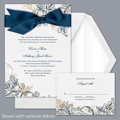 Flourish with Golden Shadow - Peacock - Invitation