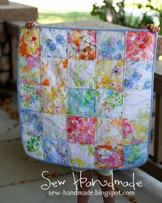 Just a little, sweet, simple baby quilt made with my favorite vintage sheets. These are 6 inch squares, all with a watercolor theme. I cann. Quilt Baby, Cot Quilt, Quilting Tips, Quilting Tutorials, Quilting Designs, Patchwork Quilting, Hand Quilting, Big Block Quilts, Star Quilts