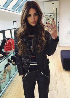 wavy caramel highlights + black leather jacket
