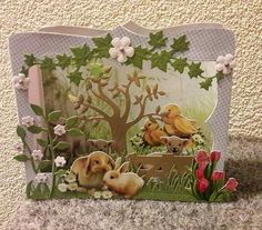 3d Cards, Pop Up Cards, Pop Up Karten, Tunnel Book, Marianne Design, Vintage Greeting Cards, Snail Mail, Easter Crafts, Shadow Box