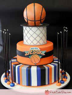 Basketball ball and net Bar Mitzvah Cake