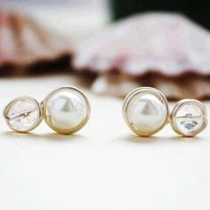 Beaded stud earrings  two beads glass pearl and by collscreations - LoveItSoMuch.com