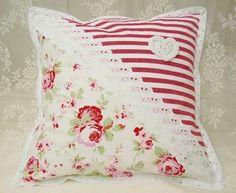 Landhaus Kissenhülle Rose Streifen rot Vintage 2