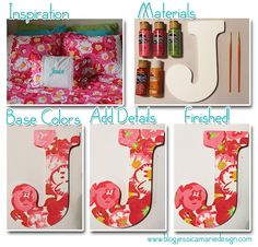 Jessica Marie Design: Painted Lilly Letter - A useful how to on painting Lilly Cute Crafts, Crafts To Do, Creative Crafts, Arts And Crafts, Diy Crafts, Creative Ideas, Little Presents, Little Gifts, Home Renovation