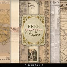 Far Far Hill - Free database of digital illustrations and papers: Freebies Kit of Old Maps