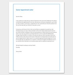 Doctor Appointment Letter To Patient   Letter Templates  Write