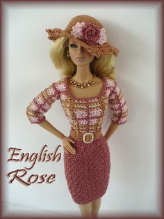 EnglishRose - there's no pattern, so hopefully I can figue one out based on the photo. Crochet Barbie Patterns, Crochet Doll Dress, Crochet Barbie Clothes, Knitted Dolls, Manequin, Mode Crochet, Barbie Accessories, Barbie Dress, Doll Clothes Patterns