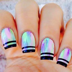 55 Gorgeous Metallic Nail Art Designs - Coat your nails in multi color and add black metallic strips for the French tip and look absolutely - Cute Nail Art, Cute Nails, Pretty Nails, Neon Nails, Holographic Nails, Pastel Nails, Bright Nails, Color Nails, Purple Nails