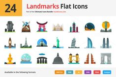 24 Landmarks Flat Icons by roundicons.com on @creativemarket