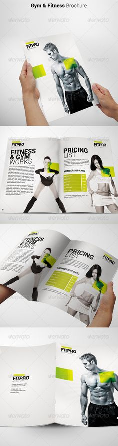 Fitness Brochure — Photoshop PSD #gym brochure #fitness catalogue • Download ➝ https://graphicriver.net/item/fitness-brochure/6918597?ref=pxcr