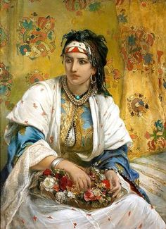 Algérie-  Peintre Belge Jean Francois Portaels ( 1818-1895), huile sur toile, Titre: Une Algérienne vendeuse de fleurs