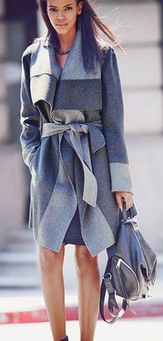 Gorgeous two tone coat from Diane von Furstenberg www.stylesvogue.com