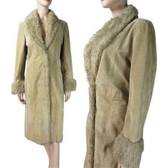Vintage 1970's Long Suede Leather Shearling Coat With Faux Fur Collar And Trim