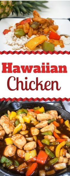 Hawaiian Chicken is a fantastic weeknight meal that is full of sweet 'n sour flavor. The chicken, peppers and pineapples are cooked in a thick and tangy sauce that will make you say mahalo. | Pineapple Chicken | Chinese Hawaiian Chicken | Brown Sugar Chicken | Barbecue Pineapple Chicken | Hawaiian BBQ Chicken | #HawaiianFood #Hawaiian #Chicken #BBQ #Barbecue #SweetandSour #hawiianbbqchicken