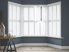 Tier on Tier 3 - Sided Bay Window Shutters - Absolute Plantation Shutters Shutters, House Styles, Interior Deco, Best Interior Design Websites, Windows, House, Bay Window Shutters, Front Room, Interior Design Singapore