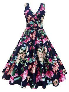 vestidos Vintage V-Neck Floral Printed Midi Skater Dress Plus Size Vintage Dresses, Vintage Dresses Online, Plus Size Dresses, Pin Up Dresses, Ball Gown Dresses, Fashion Dresses, Floral Dresses, Trendy Dresses, Elegant Dresses