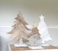 Christmas Tree Trio Rustic Holiday Decorations by ConversationBits