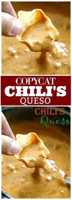 appetizer recipes This is a copycat version of Chilis Queso Dip which is one of my familys favorites. Throw this Chilis Queso Dip together in the slow cooker or heat on the stove, either way its a quick crowd pleasing appetizer. Appetizer Dips, Appetizers For Party, Quick Appetizers, Best Appetizer Recipes, Party Dips, Crockpot Recipes, Cooking Recipes, Healthy Recipes, Chilis Copycat Recipes