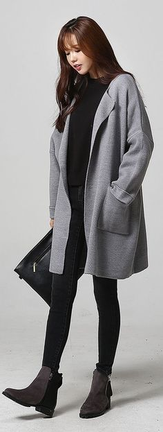 Korean fashion, long grey jacket, black, minimalist, trendy