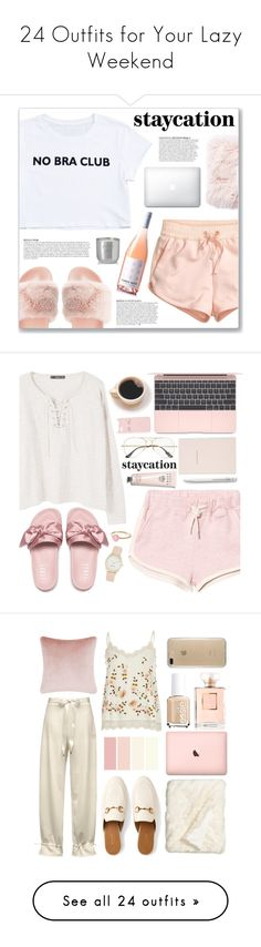 """24 Outfits for Your Lazy Weekend"" by polyvore-editorial ❤ liked on Polyvore featuring waystowear, lazyweekend, H&M, Qupid, Jaipur, Anja, Tom Dixon, MANGO, Ray-Ban and Kate Spade"