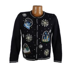 Ugly Christmas Sweater Vintage Tacky Holiday Party Women's Snow Globe P M