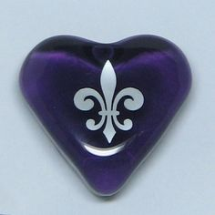 Image detail for -Friendship Fleur de Lis Purple Glass Heart by HideaHeart on Etsy