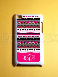 Ipod Touch 4 Case - Cute Aztec Pattern with Monogram  Ipod 4G Touch Case, 4th Gen Ipod Touch Cases