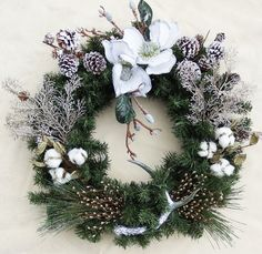 Dixie Wreath White poinsettia wreath Cotton by DesignsOnHoliday Holiday Wreaths, Holiday Crafts, Holiday Decor, Poinsettia Wreath, Deer Antlers, Craft Projects, Seasons, Winter, Cotton