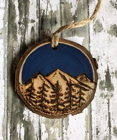 shop: Wood burned, handpainted wood slice ornament, mountains, trees Excited to share this item from my Wood Slice Crafts, Wood Burning Crafts, Wood Burning Patterns, Wood Burning Art, Wood Crafts, Diy Wood, Wood Burn Designs, Wood Logs, Wood Slices