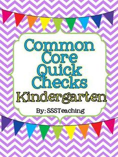 Kindergarten CCSS Quick Checks - packed with questions directly aligned with standards! Great to use for exit slips, task cards, 5 min fillers, and more...all while making sure to implement CCSS. $
