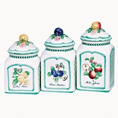 """Villeroy & Boch """"French Garden"""" Set of 3 Canisters_0"""