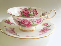 Royal Chelsea Tea Cup and Saucer, Antique Teacups, Tea Cups and Saucers, Tea Set, English Bone China Tea Cups, Tea Cups Vintage, Pink Cups by AprilsLuxuries on Etsy