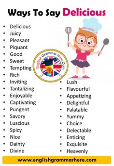 Ways to Say Delicious in English Vocabulary Delicious Juicy Pleasant Piquant Good Sweet Tempting Rich Inviting Tantalizing Enjoyable Captivating Pungent Essay Writing Skills, English Writing Skills, Book Writing Tips, Writing Words, English Lessons, English English, Narrative Essay, French Lessons, Spanish Lessons